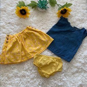 Toddler's 3 piece shirt,  skirt with bottoms